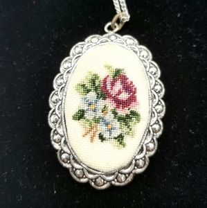 Vintage Petit Point Rose's & Violets Necklace